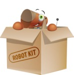 Old School Robot Dog Cartoon Vector Character AKA Robo Doug - Box
