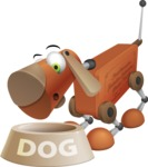 Old School Robot Dog Cartoon Vector Character AKA Robo Doug - Doggy Dish