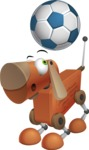 Old School Robot Dog Cartoon Vector Character AKA Robo Doug - Soccer