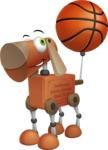 Old School Robot Dog Cartoon Vector Character AKA Robo Doug - Basketball