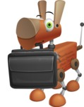 Old School Robot Dog Cartoon Vector Character AKA Robo Doug - Briefcase
