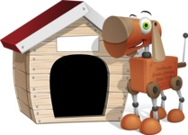 Old School Robot Dog Cartoon Vector Character AKA Robo Doug - Doggy House