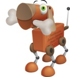 Old School Robot Dog Cartoon Vector Character AKA Robo Doug - Bone 1