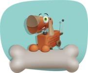Old School Robot Dog Cartoon Vector Character AKA Robo Doug - Shape11
