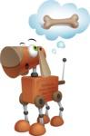 Old School Robot Dog Cartoon Vector Character AKA Robo Doug - Bone 2