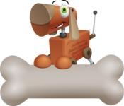 Old School Robot Dog Cartoon Vector Character AKA Robo Doug - Bone 3