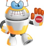Cool Robot from Future Cartoon Vector Character AKA Spud - Stop
