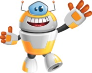 Cool Robot from Future Cartoon Vector Character AKA Spud - Hello