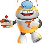 Cool Robot from Future Cartoon Vector Character AKA Spud - Joystick