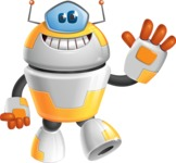 Cool Robot from Future Cartoon Vector Character AKA Spud - Wave