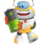 Cool Robot from Future Cartoon Vector Character AKA Spud - Battery