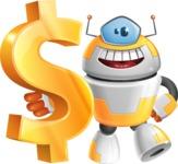 Cool Robot from Future Cartoon Vector Character AKA Spud - Dollar