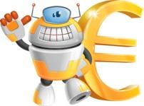 Cool Robot from Future Cartoon Vector Character AKA Spud - Euro