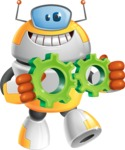 Cool Robot from Future Cartoon Vector Character AKA Spud - Gears