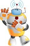 Cool Robot from Future Cartoon Vector Character AKA Spud - Wi-Fi