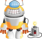 Cool Robot from Future Cartoon Vector Character AKA Spud - Charging