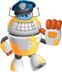 Cool Robot from Future Cartoon Vector Character AKA Spud - Policeman