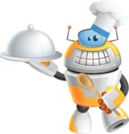 Cool Robot from Future Cartoon Vector Character AKA Spud - Cook