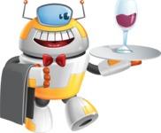 Cool Robot from Future Cartoon Vector Character AKA Spud - Waiter