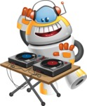 Cool Robot from Future Cartoon Vector Character AKA Spud - DJ
