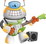 Cool Robot from Future Cartoon Vector Character AKA Spud - Musician