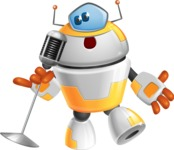 Cool Robot from Future Cartoon Vector Character AKA Spud - Singer