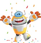 Cool Robot from Future Cartoon Vector Character AKA Spud - Celebrate
