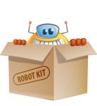 Cool Robot from Future Cartoon Vector Character AKA Spud - Box