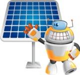 Cool Robot from Future Cartoon Vector Character AKA Spud - Solar Panel