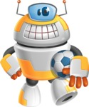 Cool Robot from Future Cartoon Vector Character AKA Spud - Soccer