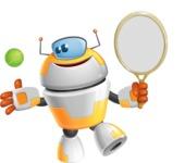 Cool Robot from Future Cartoon Vector Character AKA Spud - Tennis 1