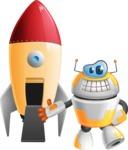Cool Robot from Future Cartoon Vector Character AKA Spud - Rocket