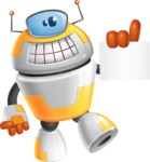 Cool Robot from Future Cartoon Vector Character AKA Spud - Sign 2