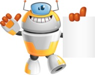 Cool Robot from Future Cartoon Vector Character AKA Spud - Sign 3