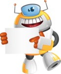 Cool Robot from Future Cartoon Vector Character AKA Spud - Sign 4