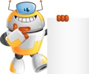 Cool Robot from Future Cartoon Vector Character AKA Spud - Sign 7