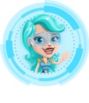 Smart Technology Future Girl Cartoon Vector Character AKA Neonna - Shape 3