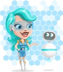 Smart Technology Future Girl Cartoon Vector Character AKA Neonna - Shape 7