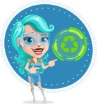 Smart Technology Future Girl Cartoon Vector Character AKA Neonna - Shape 9