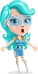 Smart Technology Future Girl Cartoon Vector Character AKA Neonna - Stunned