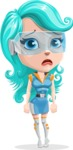 Smart Technology Future Girl Cartoon Vector Character AKA Neonna - Sad
