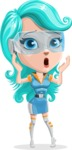 Smart Technology Future Girl Cartoon Vector Character AKA Neonna - Shocked