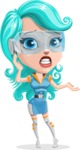 Smart Technology Future Girl Cartoon Vector Character AKA Neonna - Confused