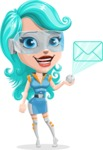Smart Technology Future Girl Cartoon Vector Character AKA Neonna - Mail