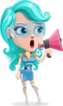 Smart Technology Future Girl Cartoon Vector Character AKA Neonna - Loudspeaker