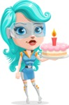 Smart Technology Future Girl Cartoon Vector Character AKA Neonna - Cake