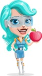 Smart Technology Future Girl Cartoon Vector Character AKA Neonna - Apple