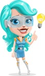 Smart Technology Future Girl Cartoon Vector Character AKA Neonna - Idea