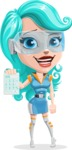 Smart Technology Future Girl Cartoon Vector Character AKA Neonna - Calculator