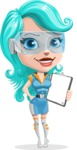 Smart Technology Future Girl Cartoon Vector Character AKA Neonna - Notepad 2